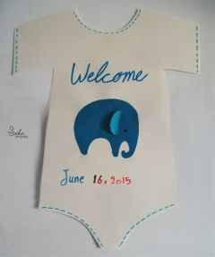 blue baby shirt welcome elephant