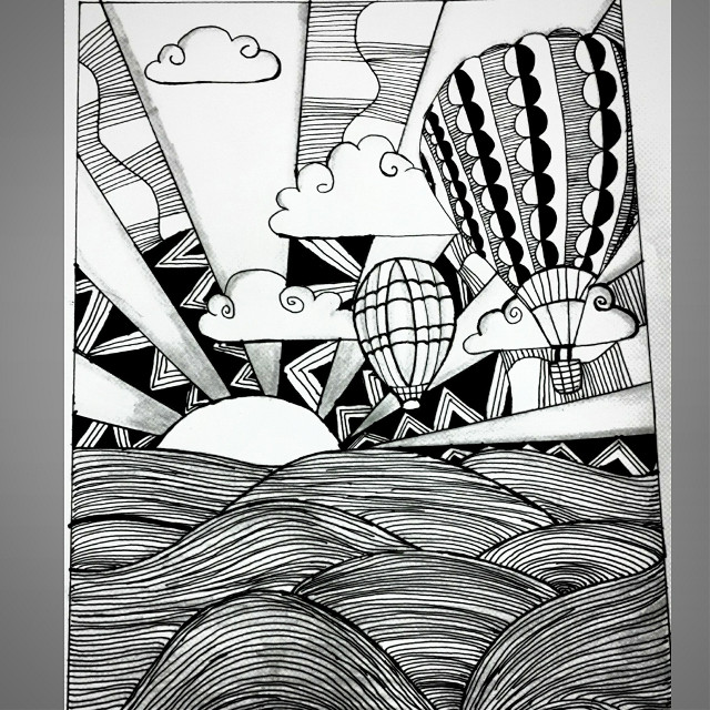 Make your life shine like a sunshine.. 😄 #blackandwhite #pen #paper #hotairballon #hope #waves #doodle #doodling #zentangle #pattern #clouds #zentangleart #nature #doodle_daily #relaxation #love #tilltheend #dchorizon