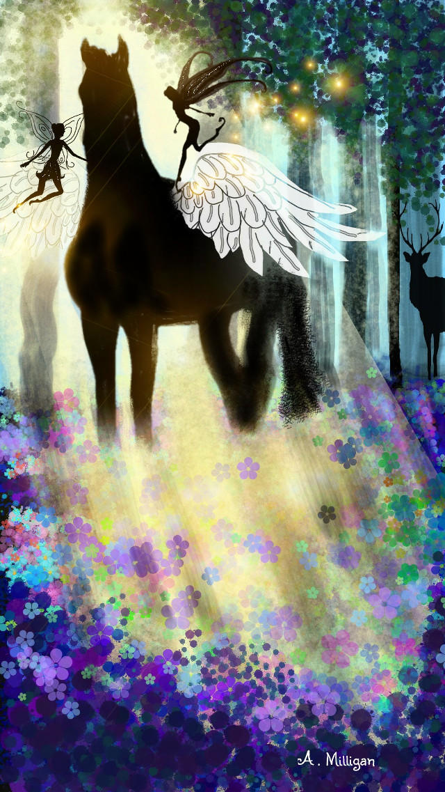 #dcsilhouette  #wdptwilight  Away with the fairies in the shadow of beauty 😊🏇 My second entry for dcsilhouette 😊 💚 👍  Step by step guide on my profile page 😆 💚 ❤ #colorful #flower #nature #petsandanimals #stallion  #stag  # fairies  # magical  # fantasy  # draw 😊💚❤