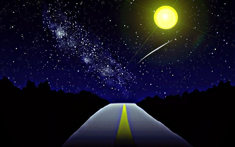 dcperspective moon sky road stars